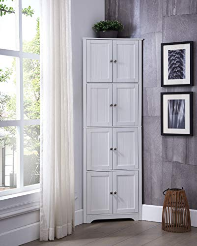 Kings Brand Furniture - Lyons 4-Tier 68' Corner Kitchen Pantry Storage Cabinet with 8 Doors, White