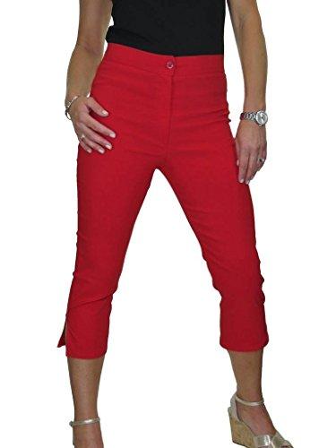 ICE Pantaloni a Vita Alta, Tessuto Elasticizzato Capri Rosso (42)