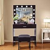 Luweki Vanity Set with Lighted Mirror, Makeup Vanity Dressing Table Dresser Desk with Large Drawer for Bedroom, Walnut (12 LED Bulbs)