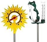 Lantelme Lot de 2 pluviomètres avec support ou piquet (grenouille avec soleil)