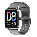 Smartwatch für Damen und Herren, Smartwatch für Kinder, Smartwatch Touch, wasserdicht, Smart-Armband für Sport, Schrittzähler, Cardio, vibrierende Smartwatch, Fitness-Tracker, Walking, Laufen (Grau)