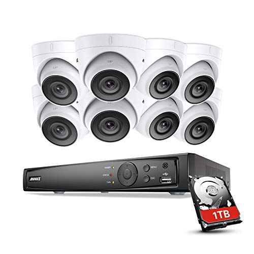 ANNKE Kit Videosorveglianza 4K POE NVR 8MP H.265,8 Canali 8 Camera 1080P Email Allarme Playback Visione Notturna 100ft Motione Detection Playback Manuale Italiano Antifurti IP66 1TB HDD