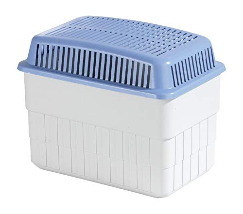 WENKO Feuchtigkeitskiller mit 1 kg Granulatblock, Raumentfeuchter, fasst bis zu 1,4 l Feuchtigkeit, laborgeprüft, nachfüllbar, reduziert Schimmel & Gerüche, 24 x 16 x 15 cm, Grau / Blau