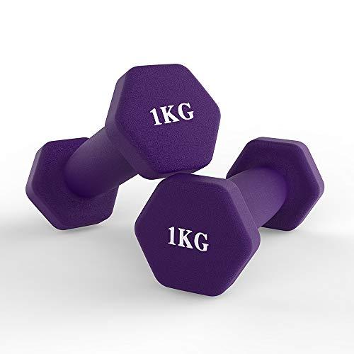 Neopren Hanteln, Hex Kurzhanteln Set -2er für Aerobic, Gymnastik und Muskel Krafttraining (1kg / Lila)