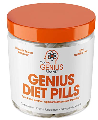 Genius Diet Pills  The Smart Appetite Suppressant That Works Fast for Safe Weight Loss, Natural 5-Htp & Saffron Supplement Proven for Women & Men  Cortisol Manger + Thyroid Support, 50 Veggie Caps