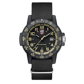 Luminox Mens Watch Leatherback Sea Turtle Giant 44 mm Black Green Display Gold Numbers (XS.0333): 100 M Water Resistant + Super Luminova + Carbonox Case