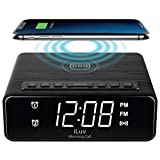iLuv Morning Call 4Q Qi-Certified Wireless Charging Alarm Clock with LED White Display, Dual Alarm, FM Radio, Sleep Timer, 3-Level Dimmer, Wood Design; Compatible with iPhone, Samsung Galaxy & AirPod