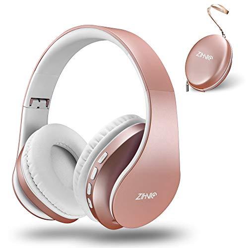 zihnic Casque Bluetooth Casque Audio Stéréo sans Fil Pliable Léger Mini SD/TF Micro Intégré FM pour Phones Pads Samsung PC (Or Rose)