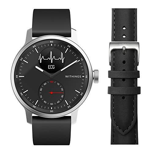 Withings ScanWatch mit Zusatzarmband im Bundle - Hybrid Smartwatch mit EKG, Herzfrequenzsensor und Oximeter, 42mm, Schwarz, mit 20mm FKM-Armband Schwarz + zusätzliches 20mm Lederarmband Braun