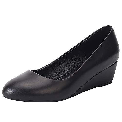 Jamron Femmes Cuir Souple 4CM Milieu Talon Compensé Escarpins Casual Slip on Dolly Chaussures Noir SN021220 EU38.5