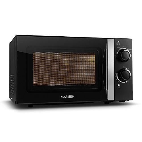 Klarstein myWave forno a microonde - potenza 700 W, camera di cottura 20 L, ideale per cucine piccole, ultra compatto, vetro trasparente, 2 manopole, 6 livelli, illuminazione interna, nero