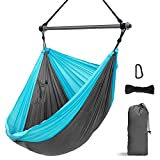 Hammock Chair, Portable Large Hanging Rope Swing - Lightweight Nylon Parachute -Max 500 Lbs - Detachable Metal Support Bar Hammock Chair Swing for Outdoor, Indoor, Backpacking, Camp, Beach