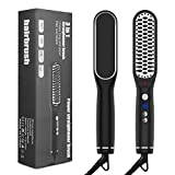 Hair Straightener Brush, Sendowtek Ceramic & Ionic Hair and Beard Brush with Built-in Comb, Fast Heating and Anti-Scald, 3 in 1 Straightening Brush 5-temp Adjustable with LCD Display