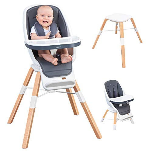 RONBEI High Chair for Infants to Toddler, 3-in-1 High Chair, Baby Wooden High Chair with Removable Tray, Adjustable Feeding Chairs for Babies/Infants/Toddlers,Easy Assemble Baby Chair