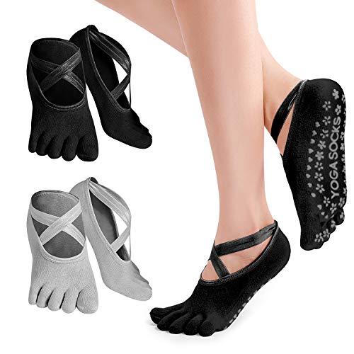 Calzini Pilates da Donna, PTN 2 Paia Calzini da Yoga Donna Calze 5 Dita Antiscivolo, Silicone Antiscivolo per Sbarre, Balletto, Danza, Allenamento, Fitness