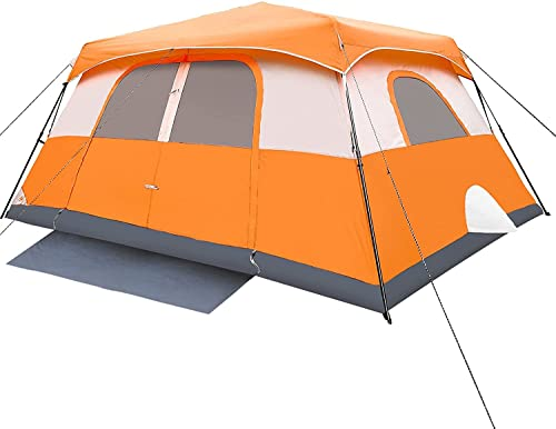 Tent, 10 Person 60 Sec Setup Family Camping Tent, Waterproof & Windproof Tent with Top Rainfly, Instant Cabin Tent, Upgraded Ventilation System (Orange)