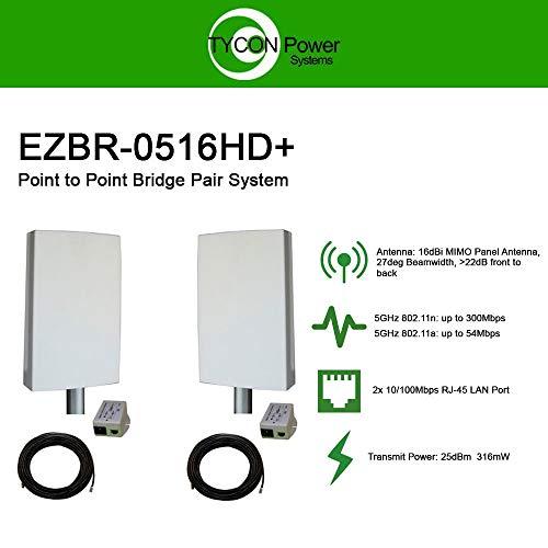 EZ-Bridge-LT5+ HD 100MB, 5GHz 802.11an Pt/Pt Secure Bridge Pair, Shield Outdr 75' CAT5 Cables + Surge Prot 24V PoE Ins, Plug n Play, 25dBm Out + 14dB Ant, 3mi Range, Wall/Pole(1-2') Mt Brckts, 4W Pwr