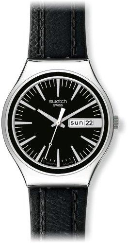Swatch Herren-Armbanduhr Analog Quarz Leder YGS744