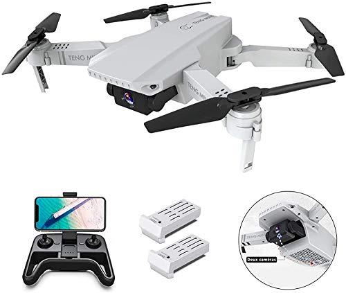 0BEST Drone avec Caméra 4k HD,Drone avec Deux caméra Professionnel, Positionnement du Flux Optique, WiFi Pliable FPV Quadcopter,Photo Gestuelle,1100mAh Batterie Inclus(Blanc) (Blanc)