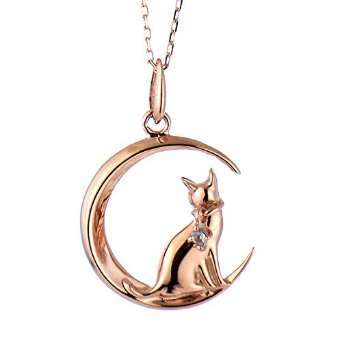 SUEHIRO ネコ ダイヤモンド ピンクゴールド ペンダント ネックレス 猫 3月 誕生石 アクアマリン