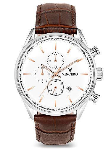 Vincero Herren Chrono S Chronograph Quarz Uhr Mit Lederband - Silber/Roségold