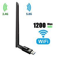 USB Wifi Adapter 1200Mbps TECHKEY USB 3.0 Wifi Dongle 802.11 ac WirelessNetwork Adapter with Dual Band 2.4GHz/300Mbps+5GHz/866Mbps 5dBi High Gain Antenna for Desktop Windows XP/Vista/7/8/10 Linux Mac