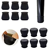 Upgraded 24 PCS Chair Leg Caps with Felt Bottom|Round&Square Silicone Chair Leg Covers for Mute Furniture Moving|Elastic Furniture Silicone Protection Cover to Prevent Scratches (Medium, Black)