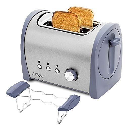 Cecotec Steel&Toast 2S Stahl Toaster. 6 Leistungsstufen, 2 Toasts, 3 Funktionen (Toasten, Aufwärmen, Auftauen), Inkl. Brötchenaufsatz, Krümelschublade, 800 W.