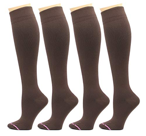 4 Pairs Dr. Motion Therapeutic Graduated Compression Women's Knee-hi Socks… (Pack-Brown)