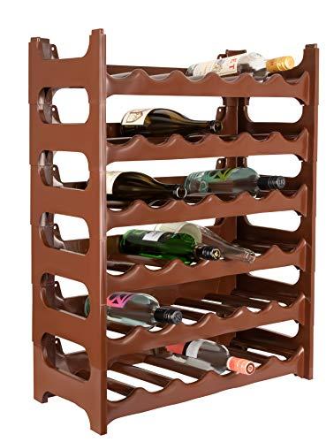 ARTECSIS Cantinetta Portabottiglie in Plastica Modulare 36 Bottiglie Marrone
