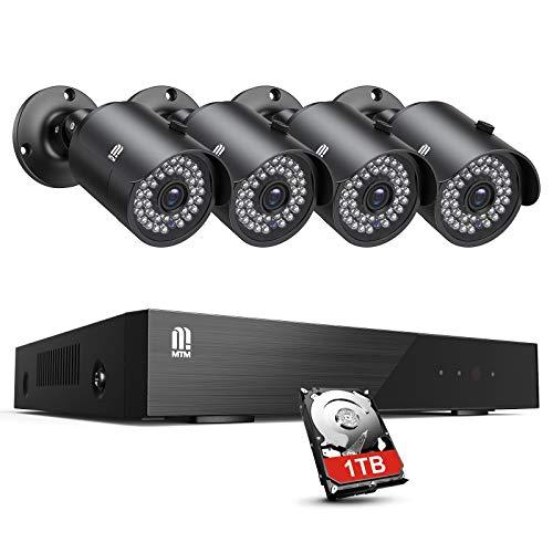 MTM Security Video Surveillance Kit 8CH 5MP 8 Channel DVR 4 Cámara de vigilancia para exteriores, 5MP Videovigilancia H.265 + ONVIF Puerto HDMI, Detección de movimiento, P2P Cloud, 30M IR Night Vision, 1TB HDD