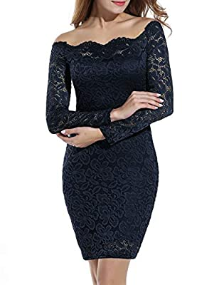 Material:90%Polyester, 10%Spandex. High quality stretch lace fabric. Off Shoulder twin set cocktail lace dress. Elegant off the shoulder floral lace bodycon wedding dress. Two way of wearing,your coluld dress it as off shoulder like our model wear,or...