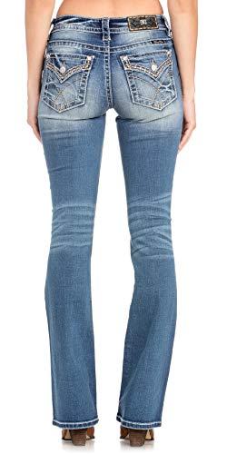 Miss Me - - Damen Mid Rise M3403SB Slim Boot Jeans, 26, Dark Blue