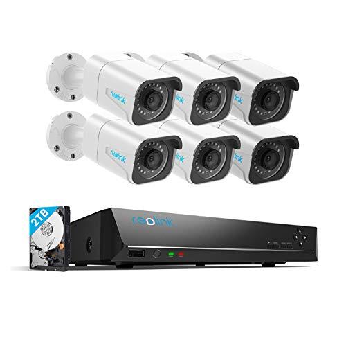Reolink 8CH 4K Kit Videosorveglianza IP Poe, 8CH 4K Poe NVR con 6X4K Ultra HD IP Poe Telecamera Esterno Impermeabile, Sistema di Sorveglianza con HDD da 2TB, Registrazione 24/7, RLK8-800B6