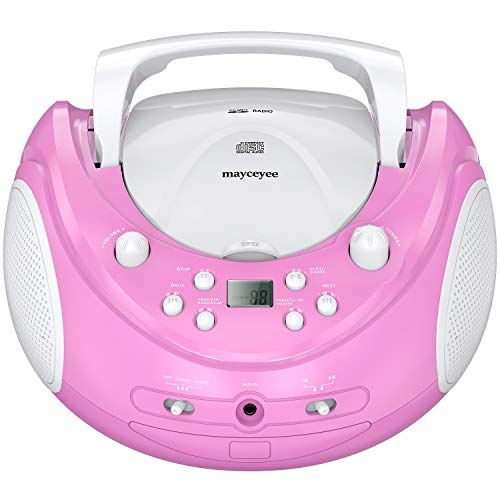 Mayceyee Portable Stereo CD Player with AM/FM Radio and Aux Line-in, Playback CDs, CD-R/RW and MP3 CDs (Pink+White)