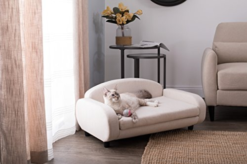 """Paws & Purrs Pet Upholstered Sofa Bed, Oatmeal, 31.5""""W x 19.5""""D x 15.5""""H"""