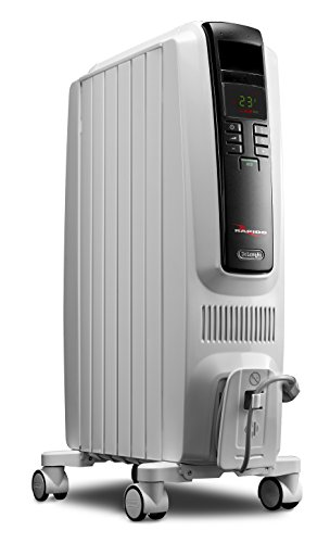 De'Longhi Oil-Filled Radiator Space Heater, Quiet 1500W, Adjustable Thermostat, 3 Heat Settings, Timer, Energy Saving, Safety Features, Nice for Home with Pets / Kids, Light Gray, TRD40615E