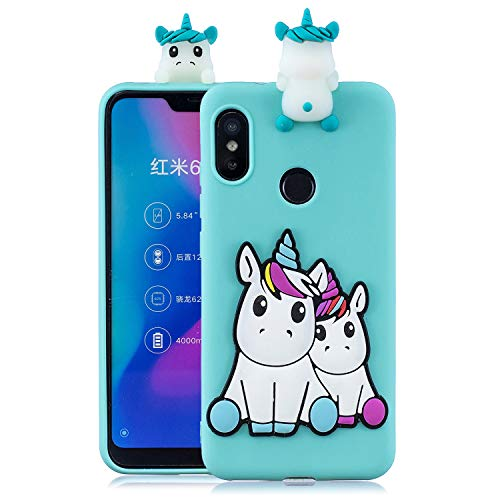 Funluna Funda para Xiaomi Mi A2 Lite, 3D Unicornio Patrón Cover Ultra Delgado TPU Goma Cover Suave Carcasa Silicona Gel Anti-Rasguño Protectora Espalda Caso Bumper Case para Xiaomi Mi A2 Lite