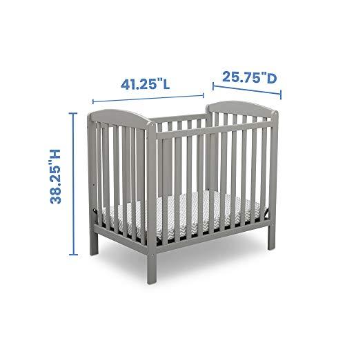 Product Image 8: Delta Children Emery Mini Convertible Baby Crib with 2.75-inch Mattress, Grey
