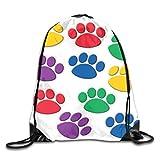 uykjuykj Bolsos De Gimnasio,Mochilas,Drawstring Bag Dog Paw Print Rucksack For Gym Hiking Travel Hot Color 02 Lightweight Unique 17x14 IN