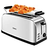 OZAVO Grille Pain Inox Baguette Extra Large 4 Tranches Toaster Rétro Double...