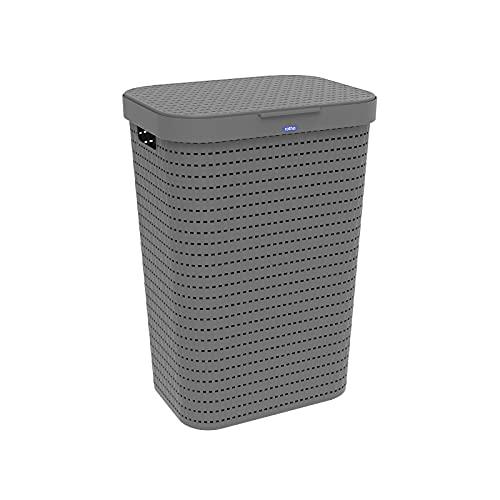 Rotho Country Wäschesammler 55l mit Deckel in Rattan-Optik, Kunststoff (PP) BPA-frei, anthrazit, 55l (42,0 x 32,2 x 57,7 cm)