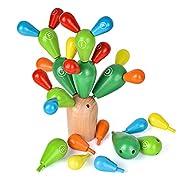 Ulikey Balance Kaktus Montessori Holz für Kinder, Holzblöcke Spielzeug Kaktus Konstruktionsspielzeug Mosaik Educational Demolition Spielzeug für Jungen und Mädchen