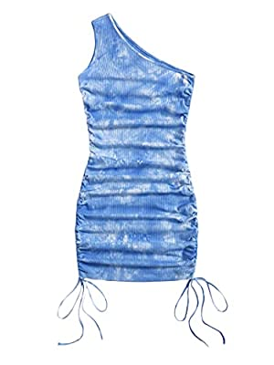 Super soft, slight stretch ribbed fabric, very comfortable to touch and wear Features: sleeveless, one shoulder, ruched, drawstring at the both sides, short length, elegant mini bodycon dress The solid mini dress is perfect for coat, jacket, sandals,...