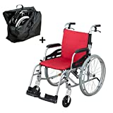 "Hi-Fortune Wheelchair 21lbs Lightweight Self-propelled Manual Wheelchairs for Adults with Cushion and Travel Bag, Portable and Folding, 17.5"" Seat, Red"