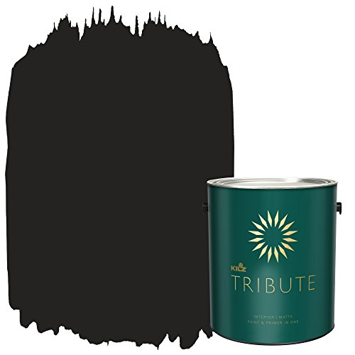 KILZ TRIBUTE Interior Matte Paint and Primer in One, 1 Gallon, Deep Onyx (TB-40)
