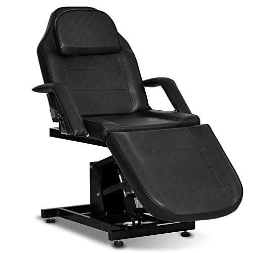 Paddie Electric Height Adjustable Facial Bed Chair, Massage Table for Tattoo Lash Extensions Microblading Spa Beauty Salon Equipment (Black)