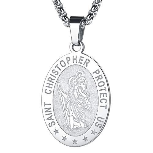 FaithHeart Médaille Saint Christophe-Collier Pendentif Ovale en Acier...