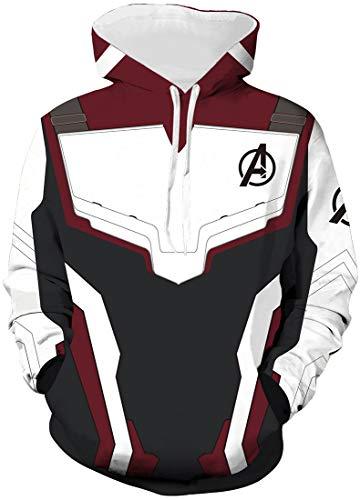 FLYCHEN Uomo Felpa con Cappuccio 3D Stampato Avengers Endgame Film Superhero Men's Hoodie Personalizzato - Burgundy 2 - L