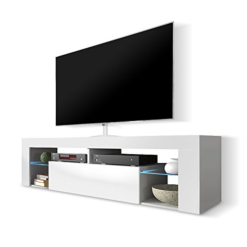 Hestia Mobile Porta TV/Mobiletto Porta TV Moderno (140 cm, Bianco Opaco/Pannello Frontale Bianco...
